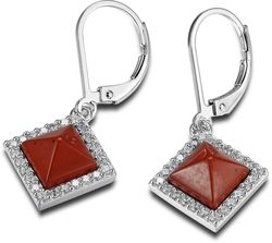 ELLE Jewelry - NEFER Sterling Silver Red Jasper And Micro Pave CZ Lever Back Earrings (E0534)