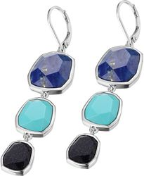 ELLE Jewelry - EXUBERANCE Sterling Silver Blue Goldstone, Lapis, and Reconstituted Turquoise Lever Back Earrings (E0578)