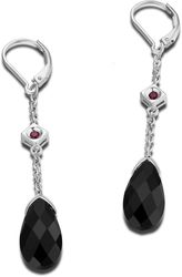 ELLE Jewelry - COCKTAIL HOUR Sterling Silver Black Agate Lever Back Earrings (E0608)
