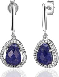 ELLE Jewelry - HALO Sterling Silver Lapis and Micro Pave CZ Post Earrings (E0632)