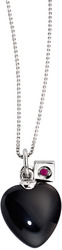 ELLE Jewelry - EMOTION Sterling Silver 16 in. Black Agate Necklace