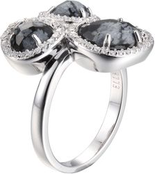 ELLE Jewelry - HALO Sterling Silver Snowflake Jasper and Micro Pave CZ Ring (R0203)