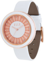 ELLE Watch - W1204 - SOLAR Rose Gold and White Enamel Case with White Leather Strap (38mm Case)