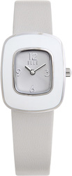 ELLE Watch - W1219 - MINI RETRO Steel and White Case with White Leather Strap (25mm Case)