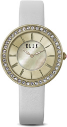 ELLE Watch - W1291 - TRANSIT Ion Plated Gold and Swarovski Crystal Case with Mother of Pearl / Sunray Dial and White Leather Strap (30mm Case)