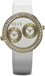 ELLE Watch - W1308 - JETLAG Ion Plated Gold and Swarovski Crystal Case with White Matte Dial and White Leather Strap (41mm Case)