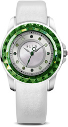 ELLE Watch - W1364 - RADIANT Steel and Green Case with Sunray Dial and White Leather Strap (30mm Case)
