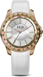 ELLE Watch - W1372 - RADIANT Ion Plated Rose Gold and White Case with Sunray Dial and White Satin Leather Strap (38mm Case)