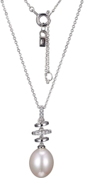 ELLE Jewelry - 18 + 2 Sterling Silver Necklace w/ Tiered Cultured Freshwater Pearl & CZ Pendant