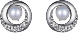 ELLE Jewelry - Sterling Silver Stud Earrings w/ Cultured Freshwater Pearl & CZs