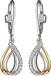 ELLE Jewelry - Yellow & Rose Gold Plated Sterling Silver Dangle Earrings w/ CZs