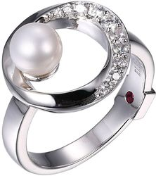 ELLE Sterling Silver CZ Ring w/ Cultured Freshwater Pearl