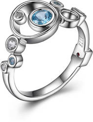 ELLE Sterling Silver Narrow Band Ring w/ Blue Topaz & CZ Bubble Design