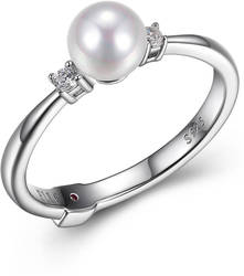 ELLE Sterling Silver Ring w/ Cultured Freshwater Pearl & CZ Accent Stones