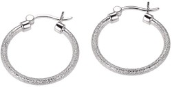 Charles Garnier - Flaiva - 25mm Rhodium Plated Sterling Silver Textured Hoop Earrings