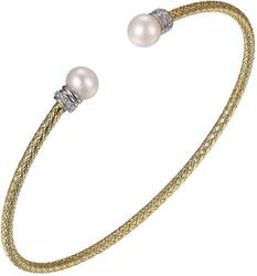 Charles Garnier -  2mm Gold Plated Sterling Silver Cuff Bracelet w/ Cultured Freshwater Pearls