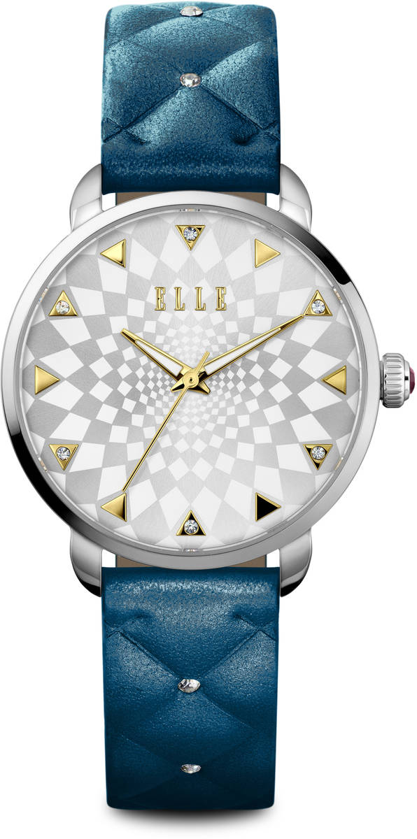 ELLE Watch - W1586 -White Checkered Sunray Dial w/ Blue Grainy Leather Strap