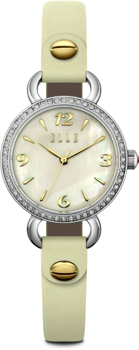ELLE Watch - W1591 Crystal & Mother of Pearl Dial w/ Modern Beige Leather Strap