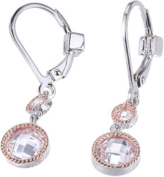 ELLE Rhodium & Rose Gold Plated Sterling Silver Dangle Earrings w/ White CZs