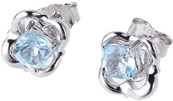ELLE Rhodium Plated Sterling Silver Stud Earrings w/ Sky Blue Topaz Center