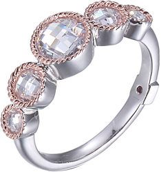 ELLE Rhodium & Rose Gold Plated Sterling Silver Ring w/ 5 Round CZs