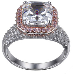 ELLE Jewelry - Rose Gold Plated Sterling Silver Ring w/ Asscher Cut CZ 9mm & Pink CZ