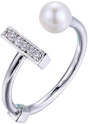 ELLE Jewelry - Sterling Silver Ring w/ Cultured Freshwater Pearl & CZ