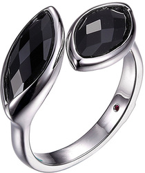 ELLE Jewelry - Sterling Silver Ring w/ Marquise Black Agate