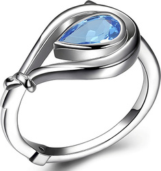 ELLE Jewelry - Sterling Silver Ring w/ Pear Swiss Blue Topaz
