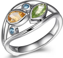 ELLE Jewelry - Sterling Silver Ring w/ Marquise Cut Peridot, Citrine & 2 Round Swiss Blue Topaz