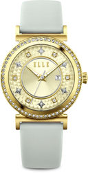 ELLE Watch - Gold Plated Watch / Gold-Tone Sunray Dial & Light Grey Leather Strap (W1541)
