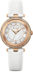 ELLE Watch - Pink Watch w/ Mother Of Pearl Dial & White Leather Strap (W1548)