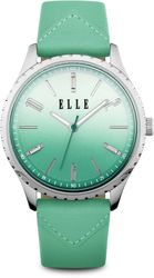 ELLE Watch - Silver-Tone Watch w/ Gradient Dial & Green Leather Strap (W1565)