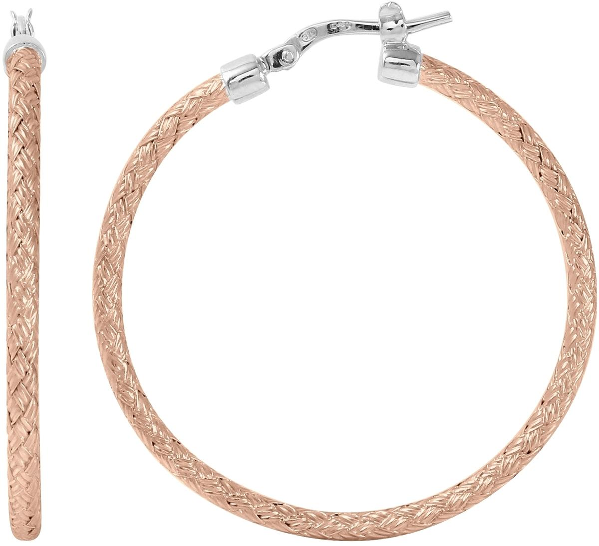 "Charles Garnier - ""Jody"" - 35mm Rose-Gold-Plated & Rhodium-Plated Sterling Silver Hoop Earrings"