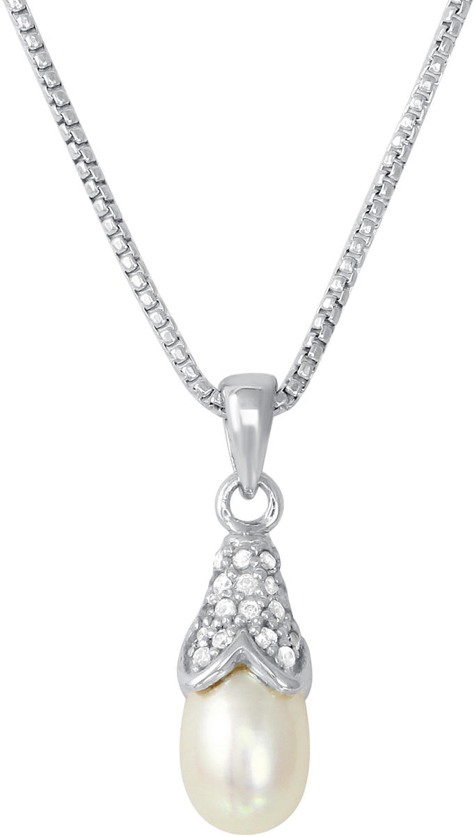 "Charles Garnier - ""Belle"" - 17""+2"" Rhodium-Plated Sterling Silver CZ & Cultured Freshwater Pearl Pendant Necklace"