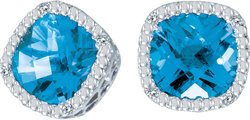 14K White Gold Blue Topaz Cushion & Diamond Earrings