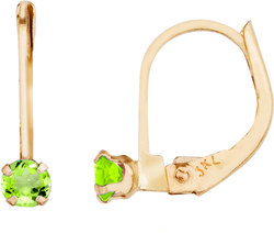 14K Yellow Gold Petite Round Peridot Leverback Earrings