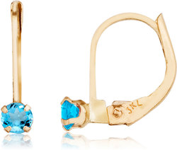 14K Yellow Gold Petite Blue Topaz Leverback Earrings