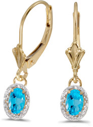 10k Yellow Gold Oval Blue Topaz & Diamond Leverback Earrings