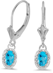 10k White Gold Oval Blue Topaz & Diamond Leverback Earrings