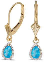 10k Yellow Gold Pear Blue Topaz & Diamond Leverback Earrings