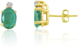 14K Yellow Gold Oval Emerald & Diamond Earrings E6021-05