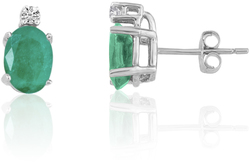 14K White Gold Oval Emerald & Diamond Earrings E6021W-05