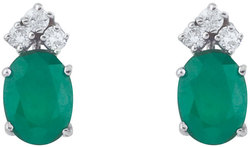 14K White Gold Emerald & Diamond Oval Earrings E6023W-05