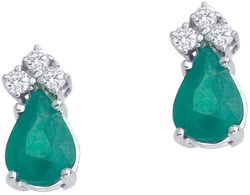 14K White Gold Emerald & Diamond Pear-Shaped Earrings E6066W-05