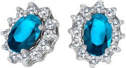 10k White Gold Oval Blue Topaz & .25ctw Diamond Earrings