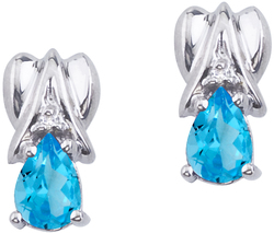 14K White Gold Blue Topaz & Diamond Pear-Shaped Earrings