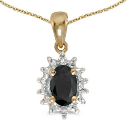 10k Yellow Gold Oval Onyx & Diamond Pendant (Chain NOT included) P1342-OX