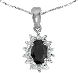 10k White Gold Oval Onyx & Diamond Pendant (Chain NOT included) P1342W-OX