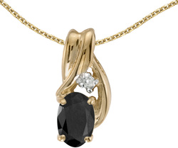 10k Yellow Gold Oval Onyx & Diamond Pendant (Chain NOT included) P1861-OX